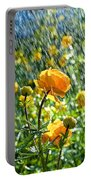 Spring Flowers In The Rain Portable Battery Charger