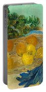Still Life Of Oranges And Lemons With Blue Gloves Portable Battery Charger