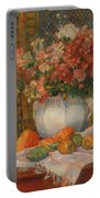 Still Life With Flowers And Prickly Pears Portable Battery Charger