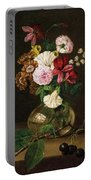 Still Life With Flowers In A Glass Vase And Cherry Twig Portable Battery Charger