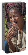 Street Portrait Of A Smoking Woman Portable Battery Charger