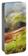 Structure Of Wooden Log Covered With Moss On The Riverside, Closeup Painting Detail. Portable Battery Charger