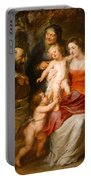 The Holy Family With Saints Francis And Anne And The Infant Saint John The Baptist Portable Battery Charger