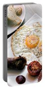 Traditional English British Fried Breakfast With Eggs Bacon And  Portable Battery Charger