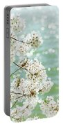 White Cherry Blossoms Trees Portable Battery Charger