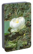 White Lotus Flower Flower Lotus Nature Summer Green Plant Blossom Asian Portable Battery Charger