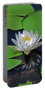 2- White Water Lily Portable Battery Charger