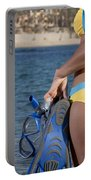 Woman Getting Ready To Go Snorkeling Portable Battery Charger