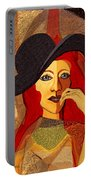 200 - Woman With Black Hat .... Portable Battery Charger