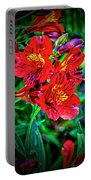 2647- Red Flowers Portable Battery Charger