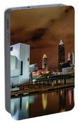 Cleveland Skyline At Night Portable Battery Charger