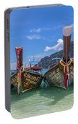 Long-tail Boats, The Andaman Sea And Hills In Ko Phi Phi Don, Th Portable Battery Charger