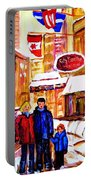 Montreal Street In Winter Portable Battery Charger