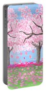 Pink Garden, Oil Painting Portable Battery Charger