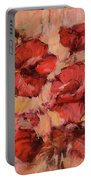 Poppy Flowers Handmade Oil Painting On Canvas Portable Battery Charger