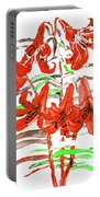 Red Lilies, Hand Drawn Painting Portable Battery Charger