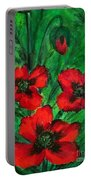 3 Red Poppies Portable Battery Charger