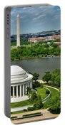 View Of The Jefferson Memorial And Washington Monument Portable Battery Charger