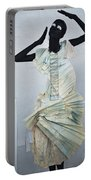 Woman With Black Boby Paint In Paper Dress Portable Battery Charger