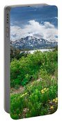 The White Pass And Yukon Route On Train Passing Through Vast Lan Portable Battery Charger