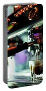Making Espresso Coffee Close Up Detail With Modern Machine Portable Battery Charger