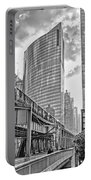 333 W Wacker Drive Black And White Portable Battery Charger