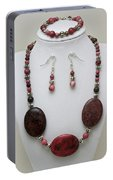 3544 Rhodonite Necklace Bracelet And Earring Set Portable Battery Charger