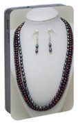 3562 Triple Strand Freshwater Pearl Necklace Set Portable Battery Charger