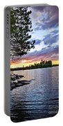Dramatic Sunset At Lake Portable Battery Charger