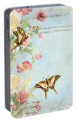 Fleurs De Pivoine - Watercolor W Butterflies In A French Vintage Wallpaper Style Portable Battery Charger