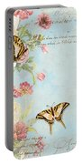 Fleurs De Pivoine - Watercolor W Butterflies In A French Vintage Wallpaper Style Portable Battery Charger
