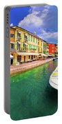 Lazise Colorful Harbor And Boats Panoramic View Portable Battery Charger