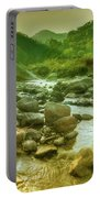 Nice River Water Flowing Through Rocks At Dawn Portable Battery Charger