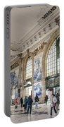 Sao Bento Railway Station Landmark Interior In Porto Portugal Portable Battery Charger
