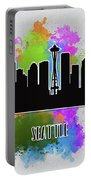 Seattle Skyline Silhouette Portable Battery Charger