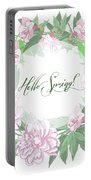 Spring  Background With White And Pink Peony Portable Battery Charger