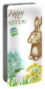 Spring Rabbit And Flowers Portable Battery Charger