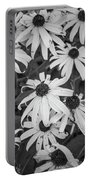 4400- Daisies Black And White Portable Battery Charger