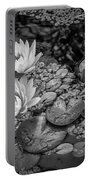 4445- Lily Pads Black And White Portable Battery Charger