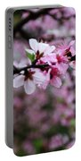 Blossoming Peach Flowers Closeup Portable Battery Charger
