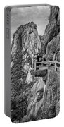 5807- Yellow Mountains Black And White Portable Battery Charger