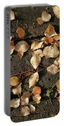 Silver Birch Leaves Lying On A Brick Path In A Cheshire Garden On An Autumn Day   England Portable Battery Charger