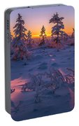 Winter Evening Landscape With Forest, Sunset And Cloudy Sky.  Portable Battery Charger