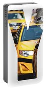 Yellow Cab Speeds Through Times Square In New York, Ny, Usa.  Portable Battery Charger