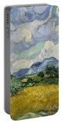 Wheat Field With Cypresses Portable Battery Charger