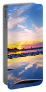 Beach Skyset Sunset On A Perranporth Beach Cornwall Portable Battery Charger