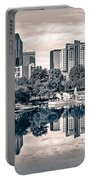 Charlotte City North Carolina Cityscape During Autumn Season Portable Battery Charger