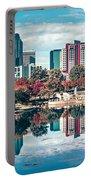 Charlotte City North Carolina Cityscape During Autumn Season Portable Battery Charger