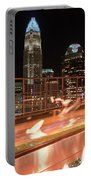 Charlotte North Carolina Skyline View At Night From Roof Top Res Portable Battery Charger