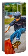 skate park day, Skateboarder Boy In Skate Park, Scooter Boy, In, Skate Park Portable Battery Charger